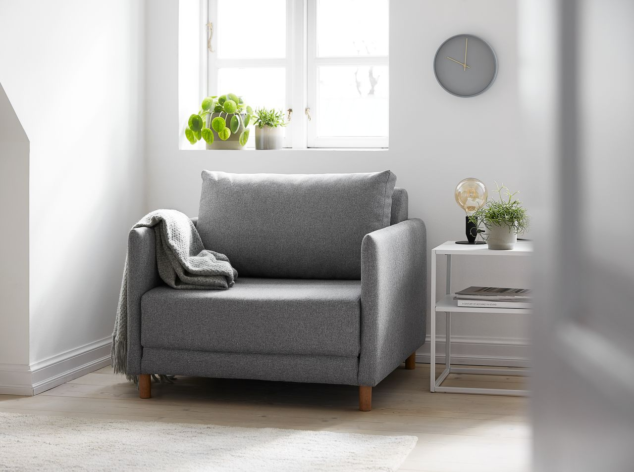 Fotel Rozkładany Norodden Jasnoszary