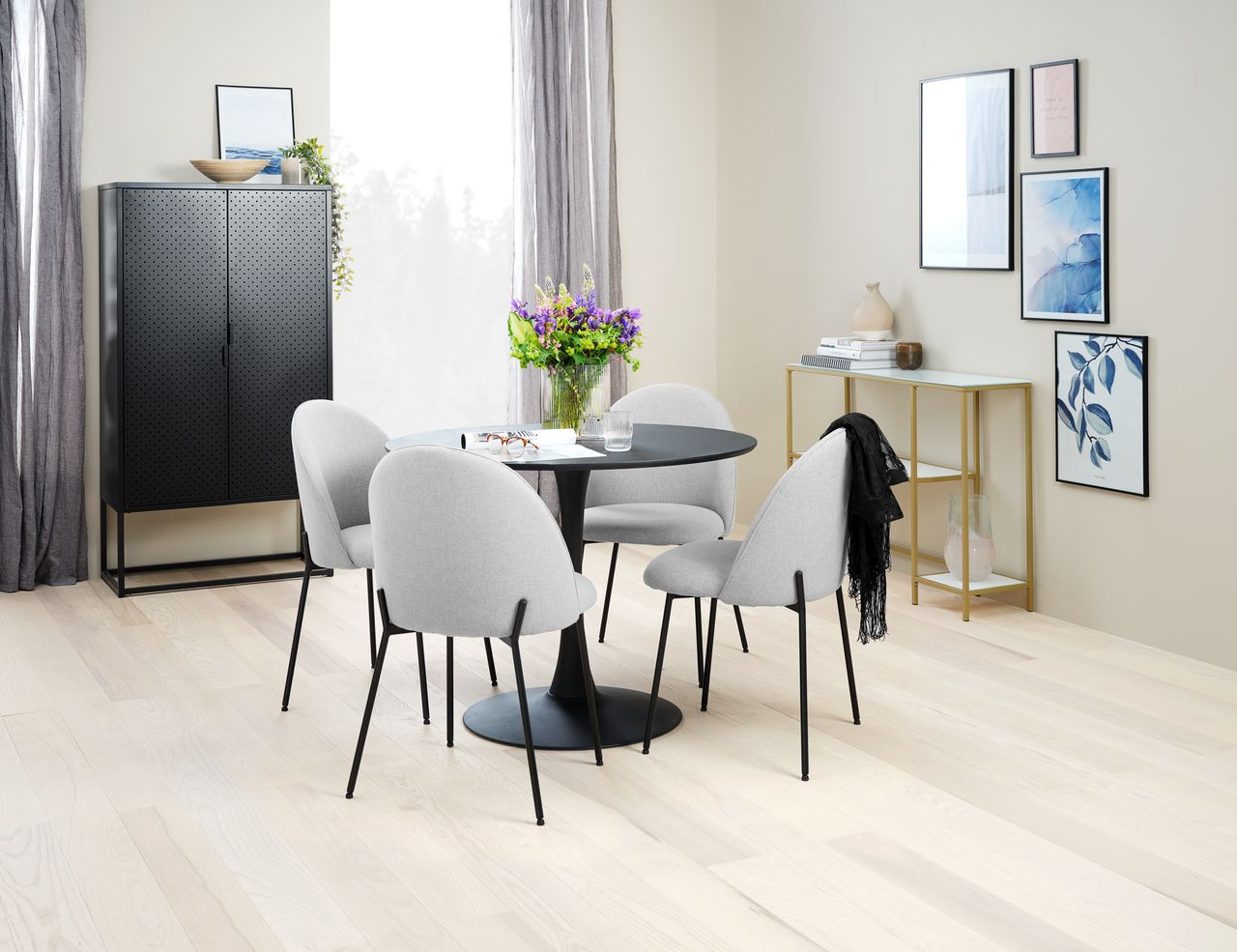 Spisebordsstol DYBVAD lysegråsort