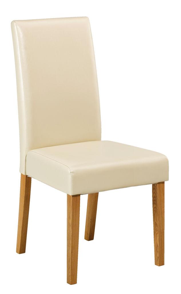 Krzesło Tureby Kremowa Skóra Ekol