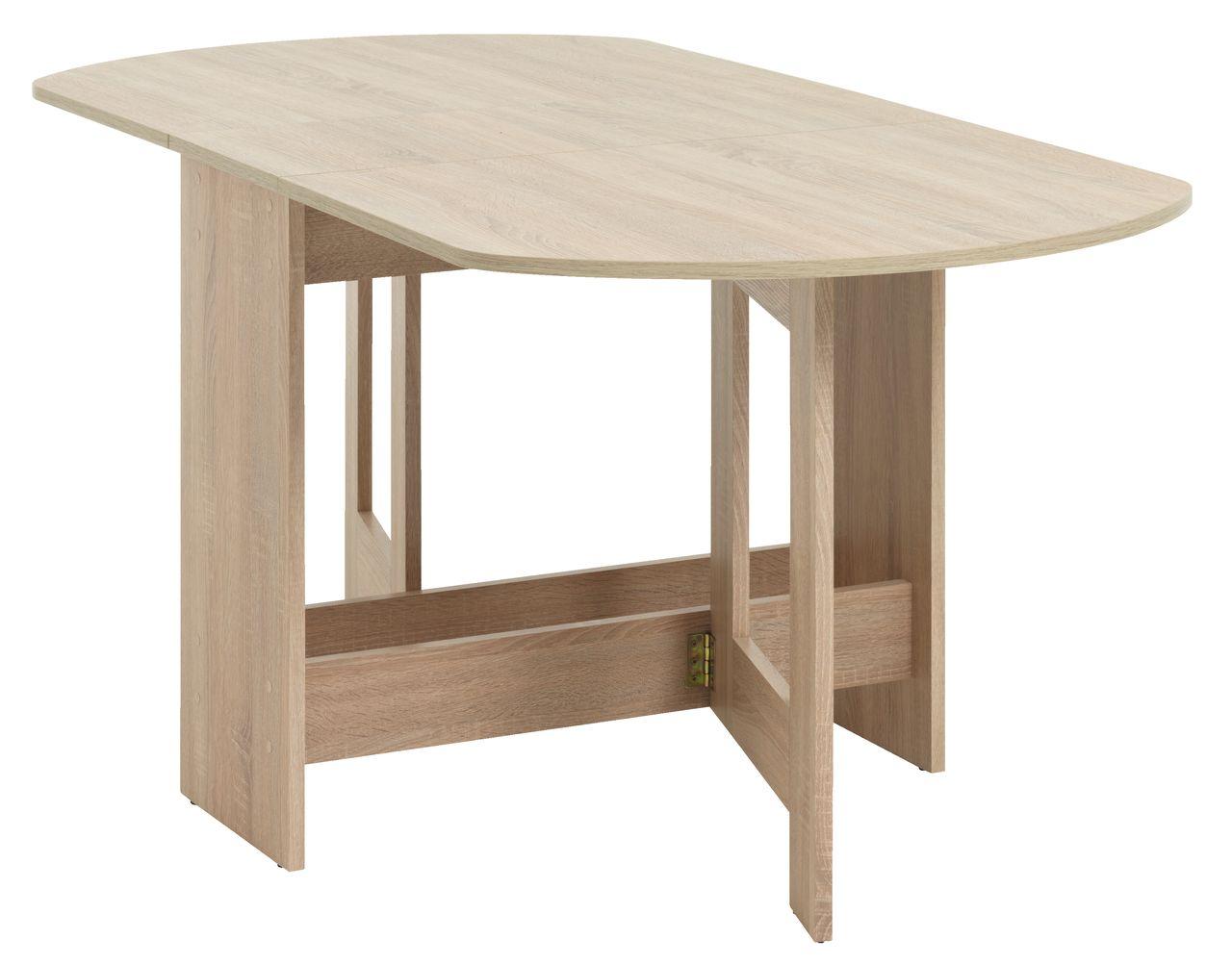Folding Dining Table OBLING Brushed Oak