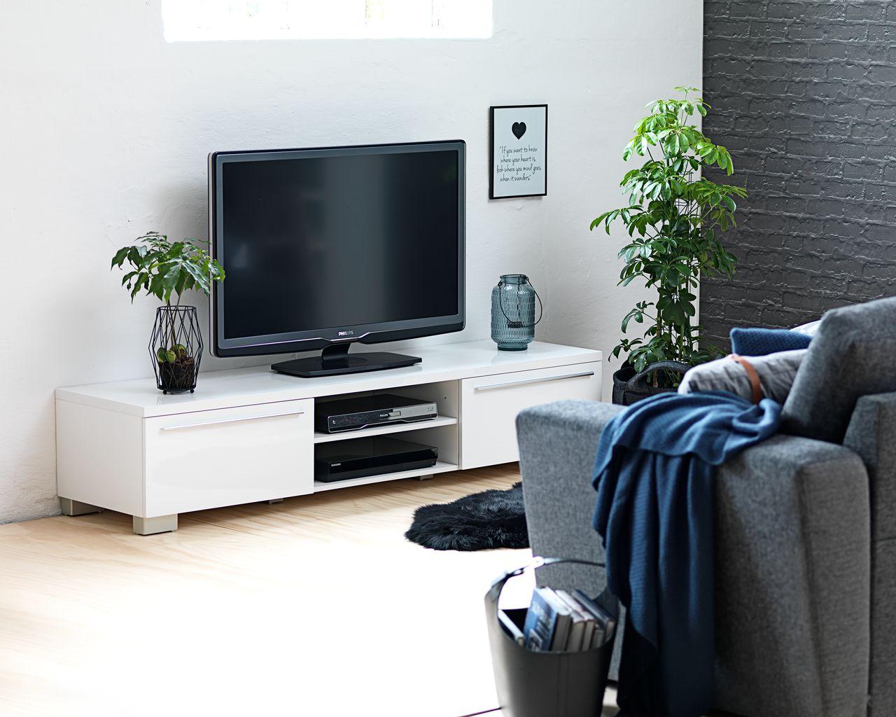 Tv Meubel Zwart Hoogglans.Tv Meubel Aakirkeby Wit Hoogglans Jysk