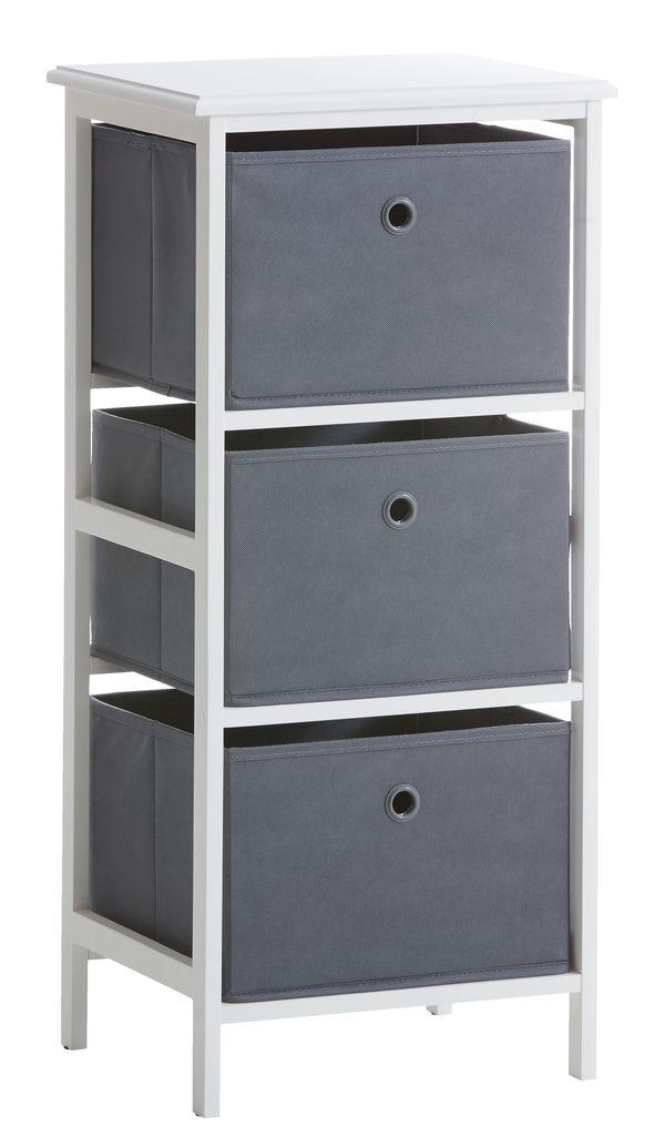 Byrå ODBY 3 lådor vit grå JYSK