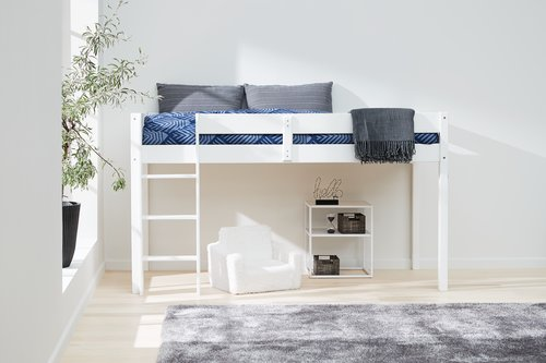 Low loft bed VESTERVIG SGL white