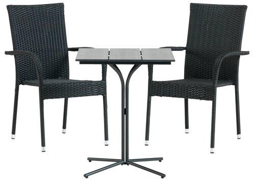 Bistro table ORTEN W58xL58 black