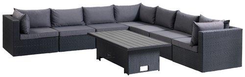 Lounge hjørnemodul BASTRUP svart