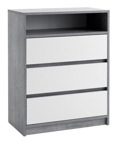 Comodă cu 3 sertare BILLUND alb/beton