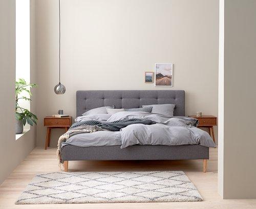 Sängram MILLINGE 140x200 ljusgrå
