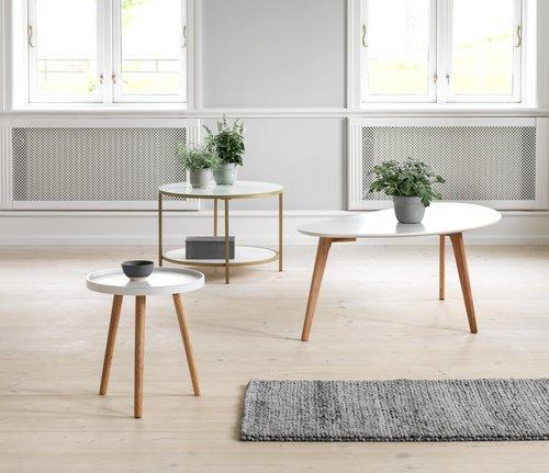 End table BAKKEBJERG D40 white/natural
