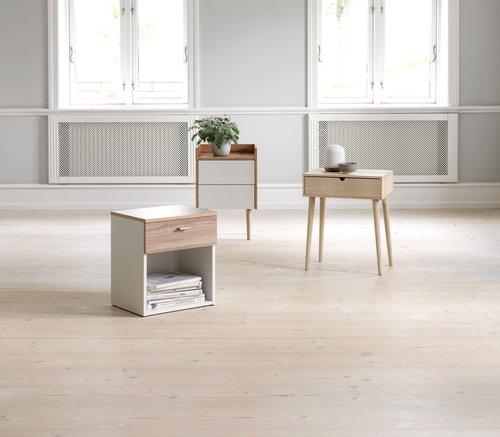 Sängbord AARUP 2 lådor vit/ek