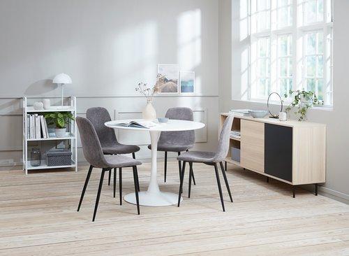 Spisebordsstol JONSTRUP fløjl grå