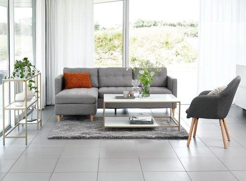 Sofa m/sjeselong FALSLEV grå