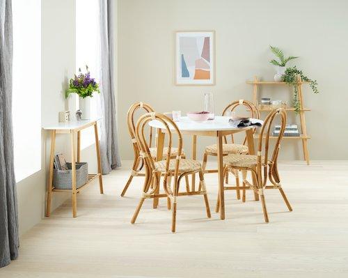 Ruokapöytä JEGIND Ø105 valk./puunvärinen