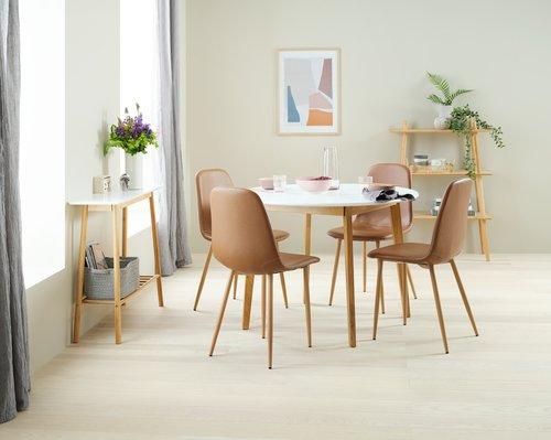 Jedilniška miza JEGIND Ø105 nar./bela