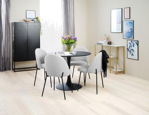 Ruokapöydän tuoli DYBVAD v.harmaa/musta
