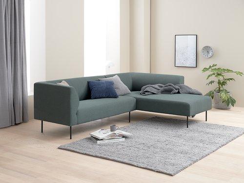 Sofa KARE chaiselong mørkegrøn højre