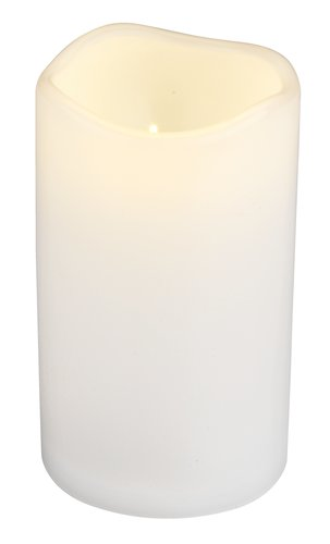 Pillar candle SOREN D8xH10cm white w/LED