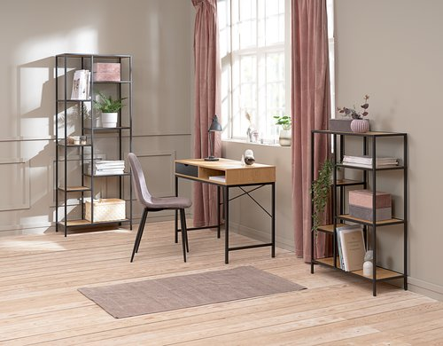 Shelving unit TRAPPEDAL 7 shel.oak/black