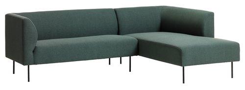 Canapea KARE sezlong dreapta verde înch.