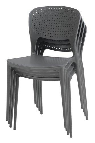 Stohovateľná stolička SEJLING sivá