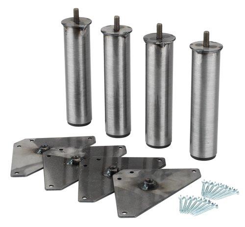 Poten Ø3,5xH15 staal set van 4