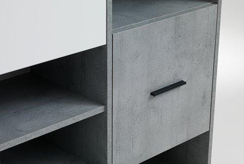 Етажерка BILLUND 3 врати бяла/цвят бетон