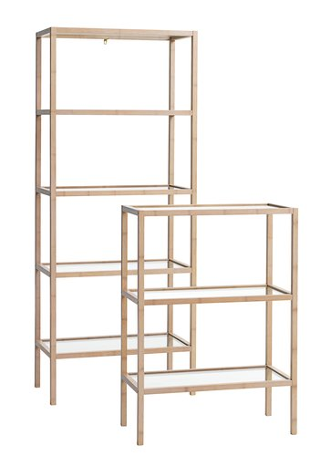 Bookcase BRANDE 3 glass shelves bamboo