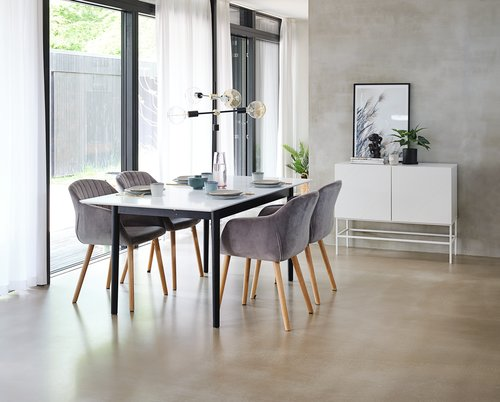 Dining table MARSTRAND L180/260 wh/black