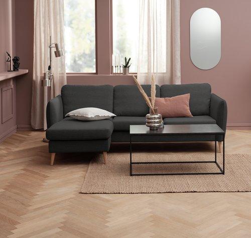 Sofa m/sjeselong AARHUS venstre mørk grå