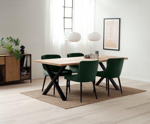 Krzesło PEBRINGE aksamit ziel/czar