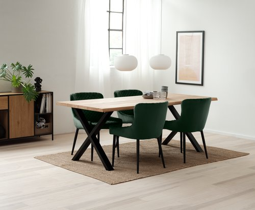 Scaun dining PEBRINGE catifea verde/neg.