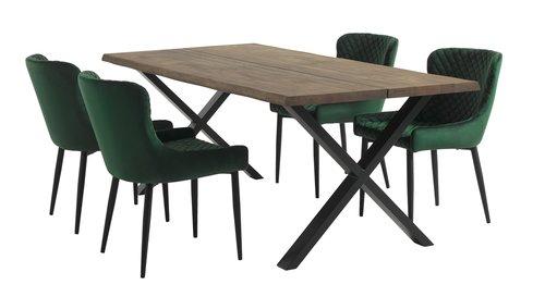 Кухненски стол PEBRINGE кадифе зел/черен
