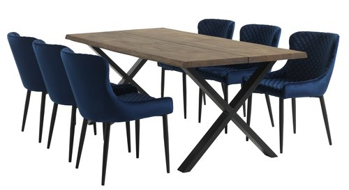 Dining table HELLERUP 95x200 smoked oak