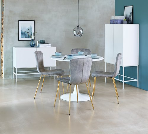Jedilniški stol EJERSLEV žamet/zlata