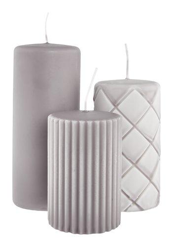 Bougie pilier ALFRED gris 3pcs/pqt