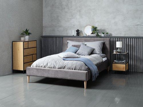 Bedframe MILLINGE 140x200 grijs bruin