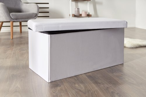 Pouf LADELUND 80x40 contenitore bianco