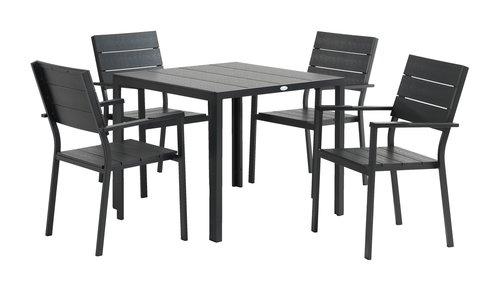 Miza MADERUP D90+4 stoli FALKERSLEV