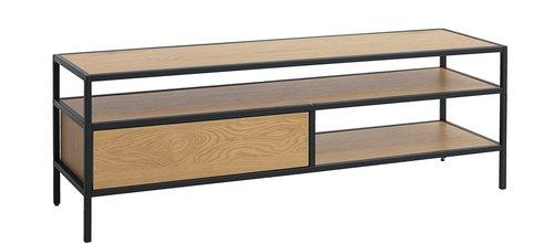 TV-bord TRAPPEDAL eik/svart