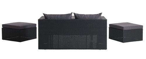 К-т мебели TANE 4 места, 3 в 1, черен