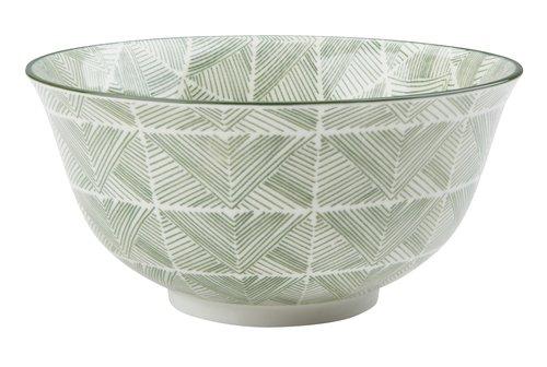 Bowl INGVART D15xH8cm green w/lines