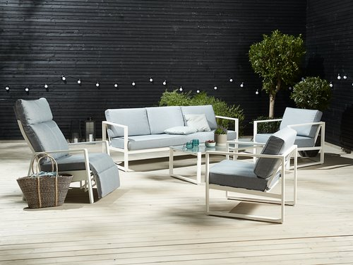 Set muebles jardín KENTUCKY 5pers blanco