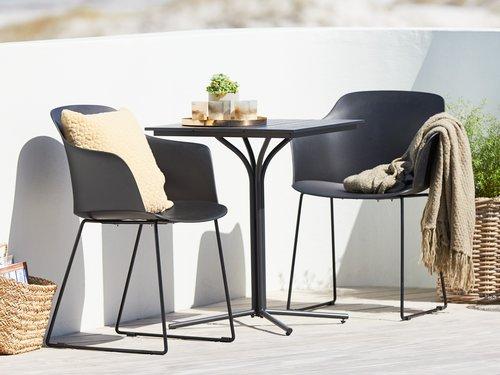 Cafebord ORTEN B58xL58 sort