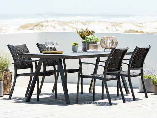 Садовый стол FAUSING 100x220 см черный