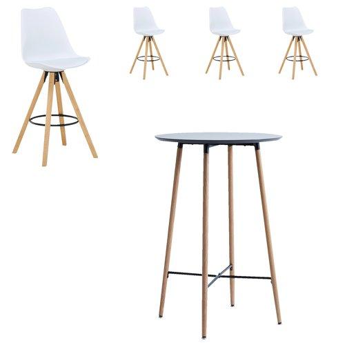 Chaise de bar BLOKHUS blanc/naturel
