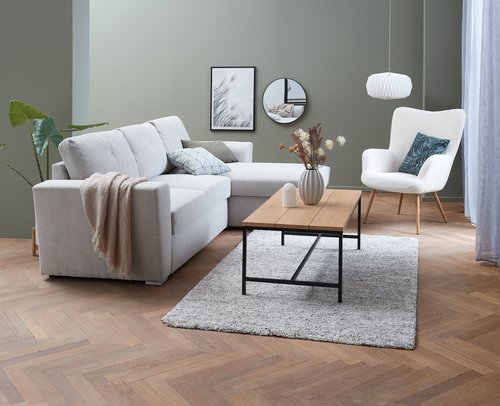 TV-meubel TRAPPEDAL eiken/zwart