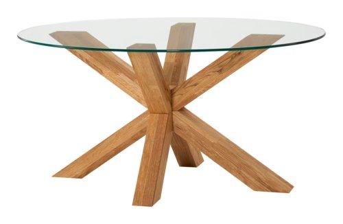 Tavolino SASKIA Ø100 vetro/rovere