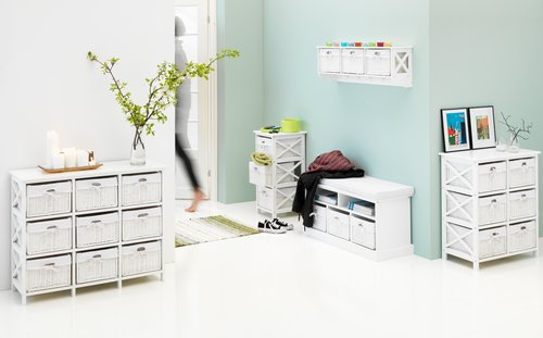 Hallway shelf OURE 3 baskets white