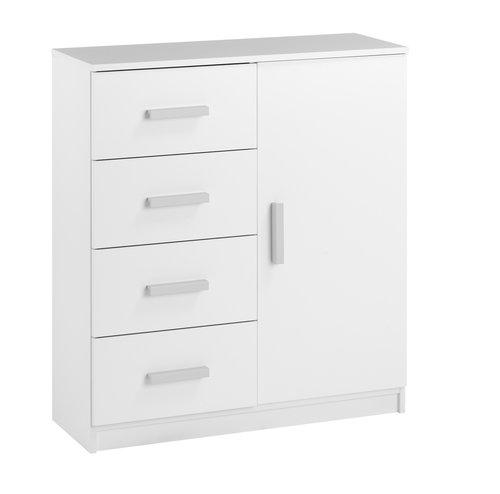 Скрин KABDRUP 4 чекмеджета/1 врата/бял