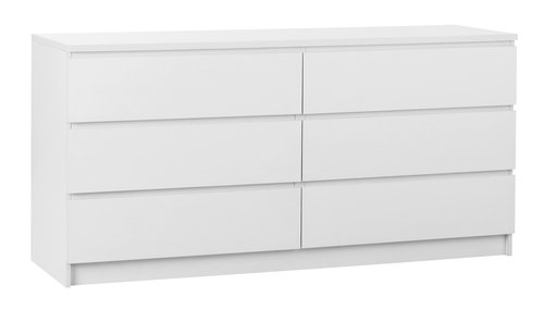 Komoda s 3+3 ladice LIMFJORDEN bijela