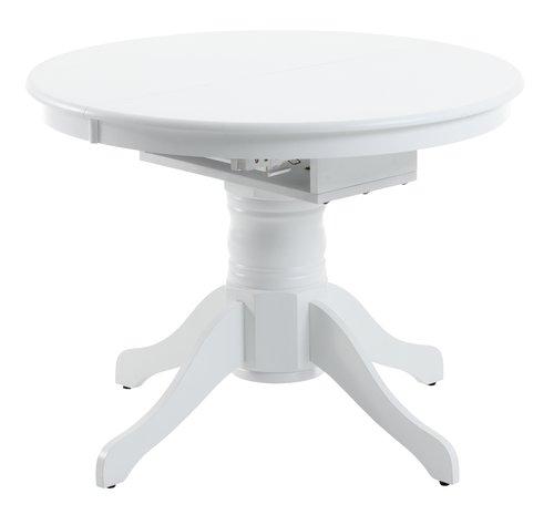 Eettafel ASKEBY Ø100 m/verlengblad wit